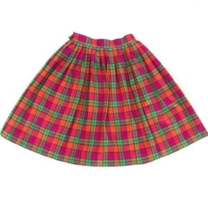 Dresses & Skirts - 1980s Pink and Green Pleated Plaid Skirt
